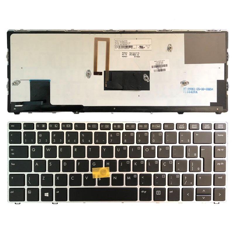 Brazilian laptop keyboard FOR HP EliteBook Folio 9470M 9470 9480 9480M silver frame with backlight/point 785648-201 6037B0080111Brazilian laptop keyboard FOR HP EliteBook Folio 9470M 9470 9480 9480M silver frame with backlight/point 785648-201 6037B0080111