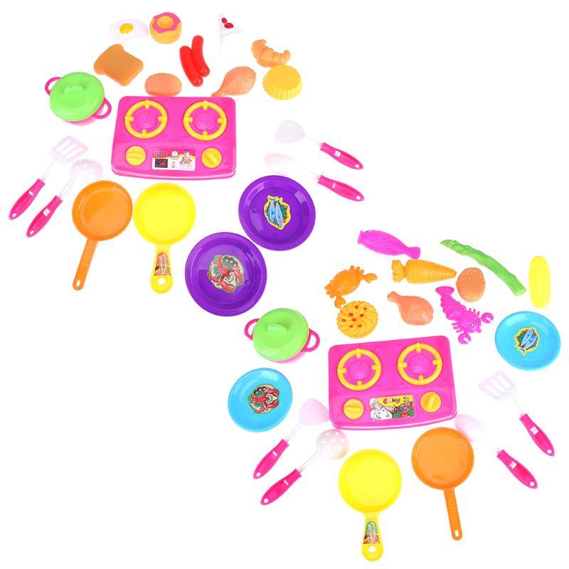 20pcs Plastic Kids Children Kitchen Utensils Food Cooking Pretend Play Set Toys Children Educational Kitchen Simulation Toys