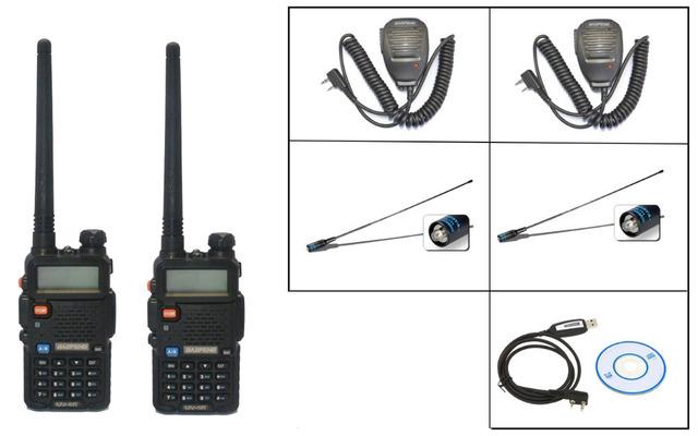 2 UNIDS 2016 Nueva BaoFeng UV-5R Walkie Talkie + 2 micrófonos + 2XNA XBaofeng 771-F natennas + 1 Xprogramming cable envío libre Piezas de Telecomunicaciones
