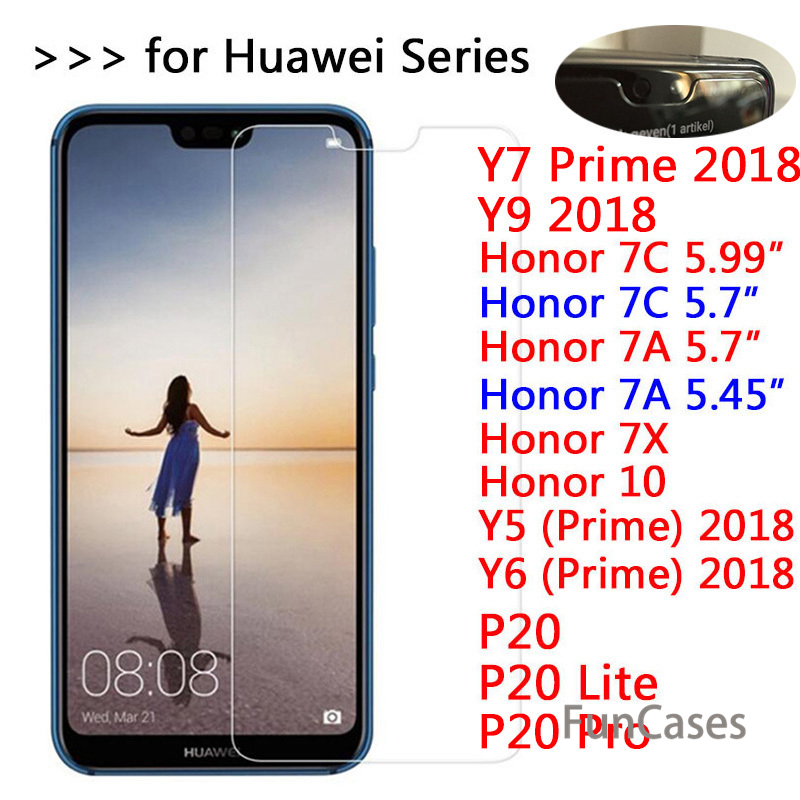 9H Tempered Glass For Huawei P20 Lite Pro Screen Protector for <font><b>Honor</b></font> 10 <font><b>7X</b></font> 7C 7A Pro Y5 Y6 Y7 Prime Y9 2018 Protective film Glas image