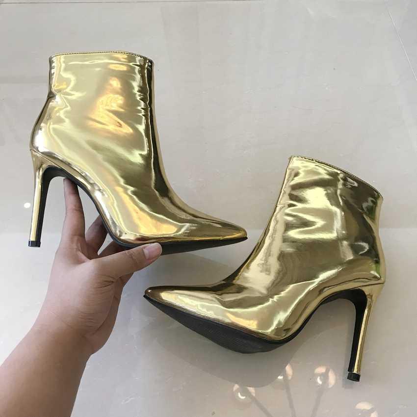 Altın Gümüş Kadınlar Kış Ayakkabı Patent Deri Motosiklet Botları Bayanlar yarım çizmeler Faux Kürk Ilkbahar Sonbahar Yüksek Topuklu Çizmeler Kadın