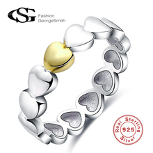 GS 2017 925 Sterling Silver Ring For Women Gold Sliver Love Heart Jewelry Fashion Wedding Ring Summer Collection Bijoux Ohrringe