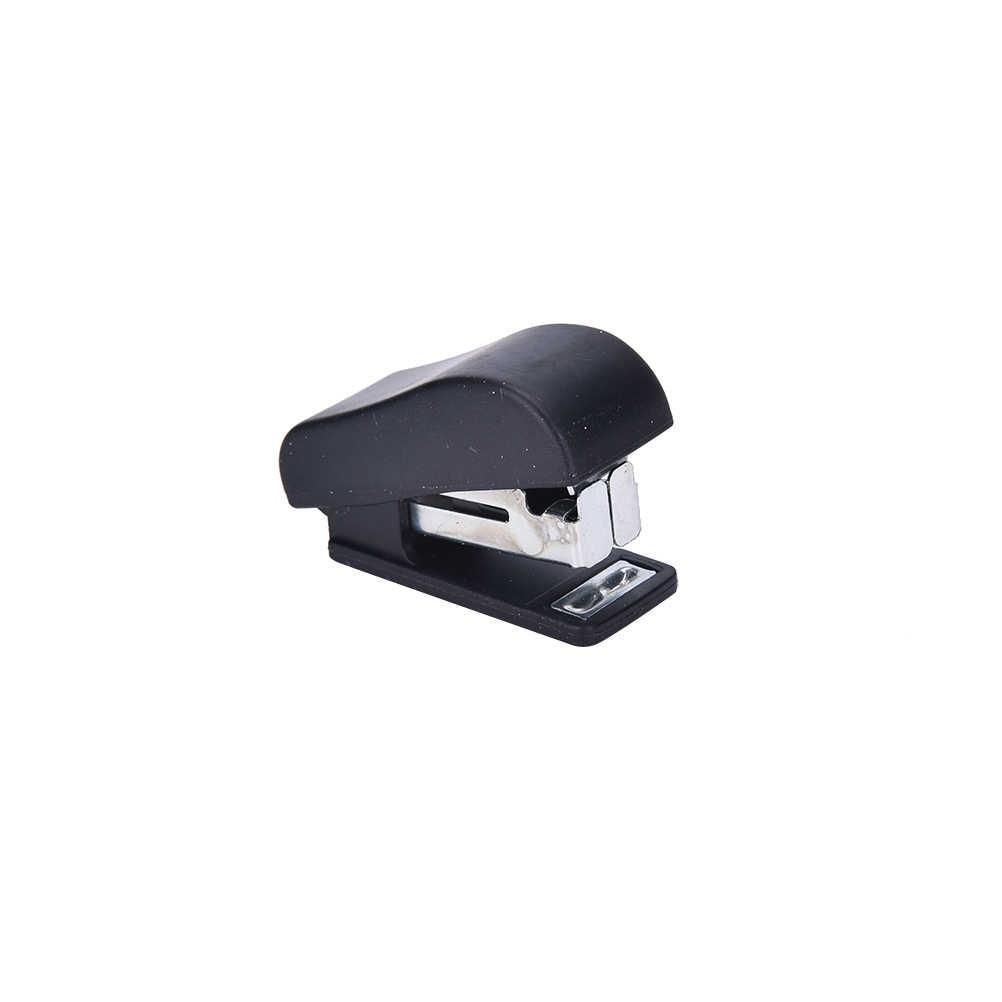 Eşsiz Kawaii plastik Mini zımba seti zımba kağıt ofis aksesuarları Mini Corchetera bağlayıcı sabit 50pcs zımba