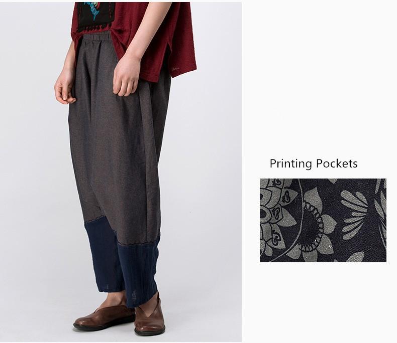 b14c198e4f1 Jiqiuguer Women Cotton Linen Harem Pants Vintage Patchwork Plus Size  Elastic Waist Loose Wide Leg Pants Summer Trousers.  HTB1MMBcHFXXXXbhXXXXq6xXFXXXt