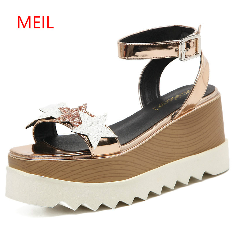 Women Stars Print Sandals 2018 Fashion Fish Mouth Platform summer shoes High Heels Wedge Shoes Five-Star Slope