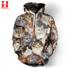 2017 Headbook Cap Hoodies Men/Women Sweatshirts Brand 3d Jacket Print Cats Animals Men Hoodies Hooded lovely Tracksuits Hoody