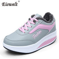 EISWELT 2017 Winter Boots Female Plush Ankle Snow Boots Mixed Colors Comforty Sport Shoes Sneakers Wedges