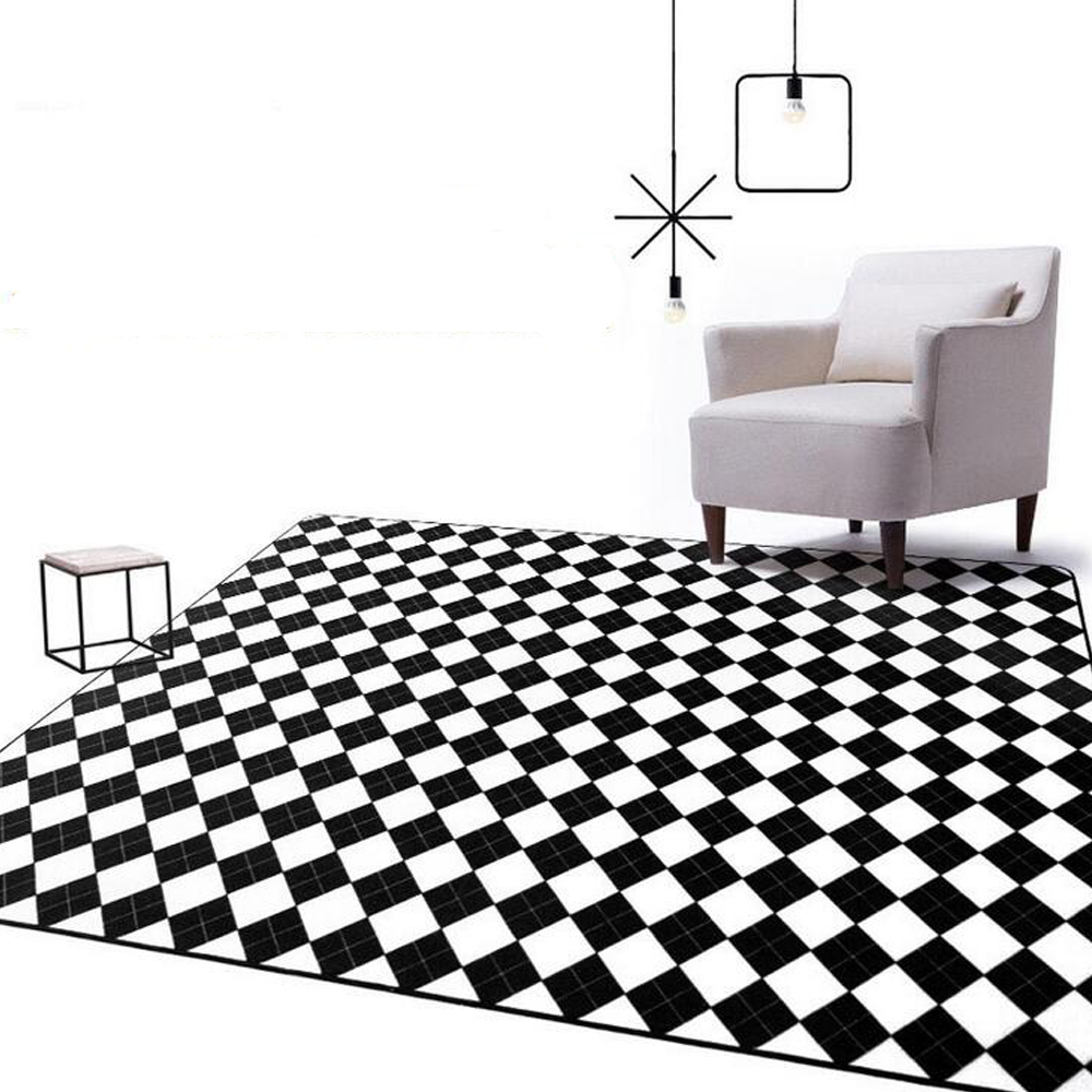 modern black white geometric plaid big carpet parlor bedroom living room area carpet table sofa. Black Bedroom Furniture Sets. Home Design Ideas