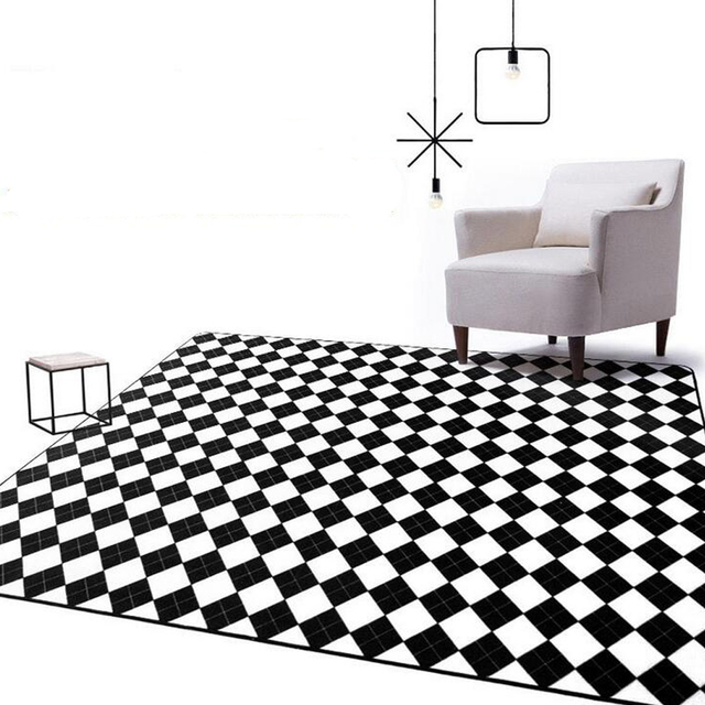 moderne noir blanc g om trique plaid grand tapis salon chambre salon zone tapis sofa table tapis. Black Bedroom Furniture Sets. Home Design Ideas