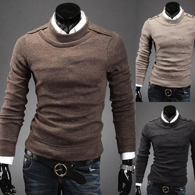 2014 новая коллекция весна марка свободного покроя коммерческий сплошной цвет slim-подходят мужские свитера кардиган о-образным шею парня одежда M-XXL