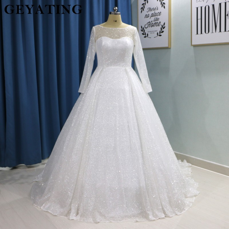 Glitter White Bling Bling Ball Gown Wedding Dress Long Sleeves