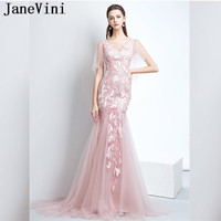 JaneVini Fancy Pink Mermaid Women Wedding Party Dress Jurk Lang 2018 Tulle Lace Sexy Bridesmaid Dresses Long Prom Formal Gowns