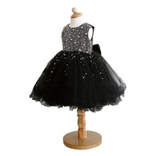 BBWOWLIN New Baby Girl Black Dress Decorated with Diamonds Party Dress for First Birthday Infant Princess