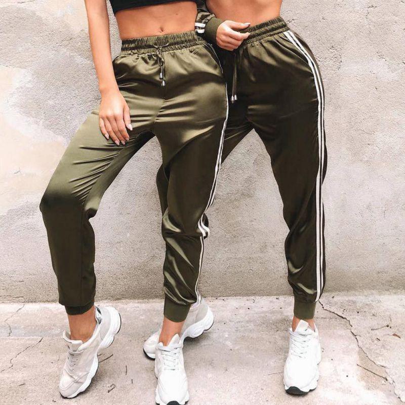 High Fashion Women Sexy Pants Striped Side Loose Drawstring Elastic High Waist Slim Pencil Casual Long Trouser