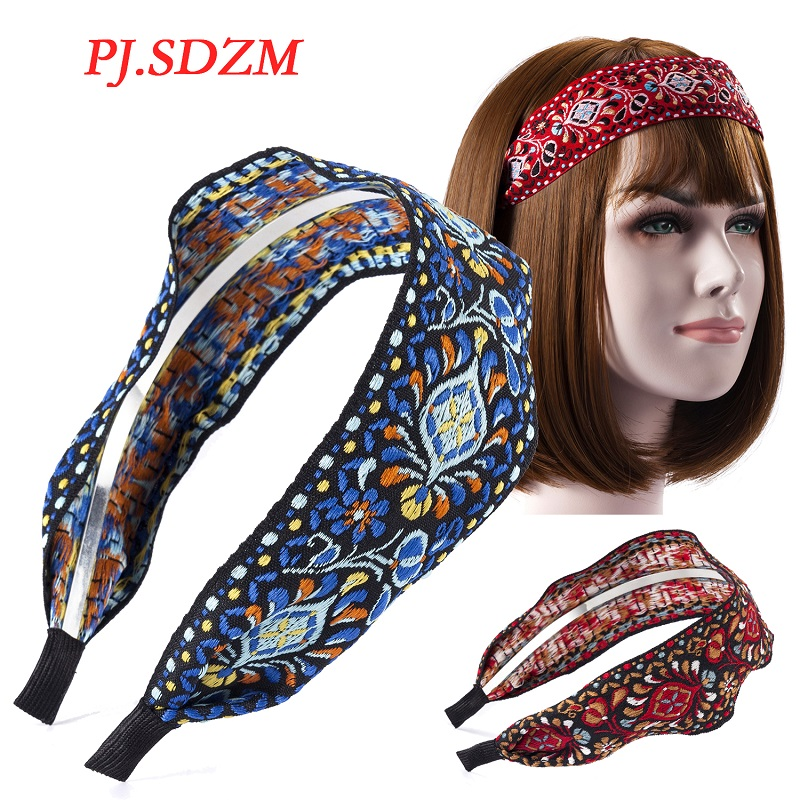 Bohemia Style Wide Headband Ethnic Korea Embroidery Floral Hair Accessories High end Fabric Art Hairwear Gift