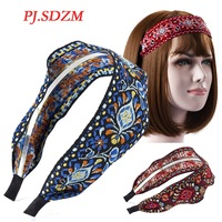 Bohemia Style Wide Headband Ethnic Korea Embroidery Floral Hair Accessories High-end Fabric Art Hairwear Gift for Women FG0022