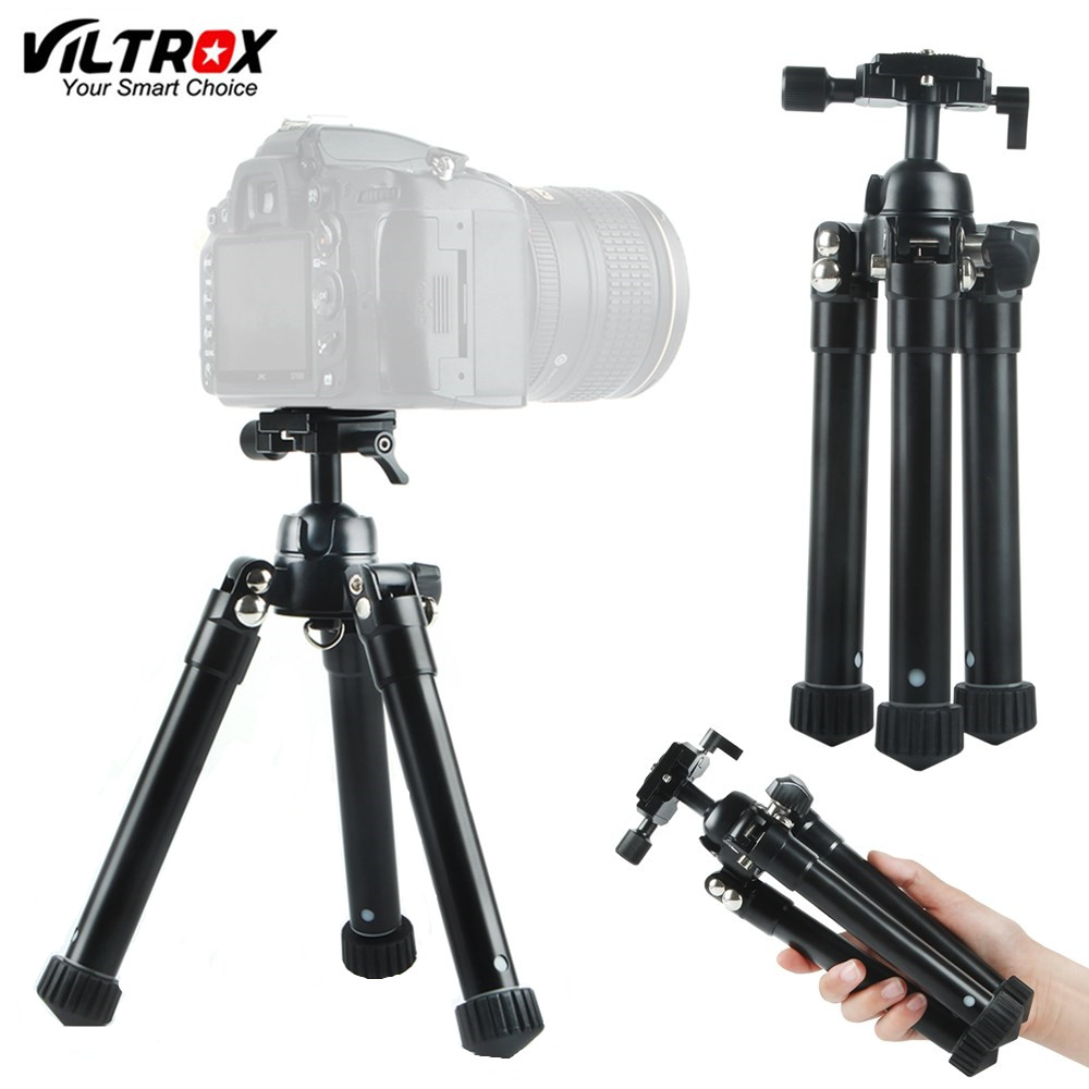 Viltrox MT-60 Portable Desktop Mini Table Camera Aluminum Compact Tripod with Ball Head for Sony Canon Nikon DSLR & phone bexin lightweight camera tripod aluminum desktop photography compact mini tripod with swivel ball head for canon dslr camera