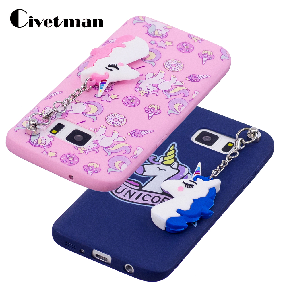 Cover Cell Phone Case For Samsung Galaxy S7 G9300 <font><b>SM</b></font> S7 Edge <font><b>G9350</b></font> Cartoon Horse Pattern With Unicorn Pendant TPU Silicone Shell image