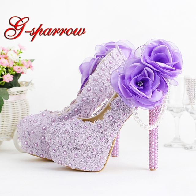 d873365a515 Purple High Heel Wedding Shoes Beautiful Lace Handmade Bridal Shoes with Appliques  Bridesmaid Shoes Girl Birthday