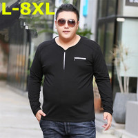Plus Size 8XL 2018 New Autumn Men Long Sleeve T Shirt Cotton High Quality Pullover Casual