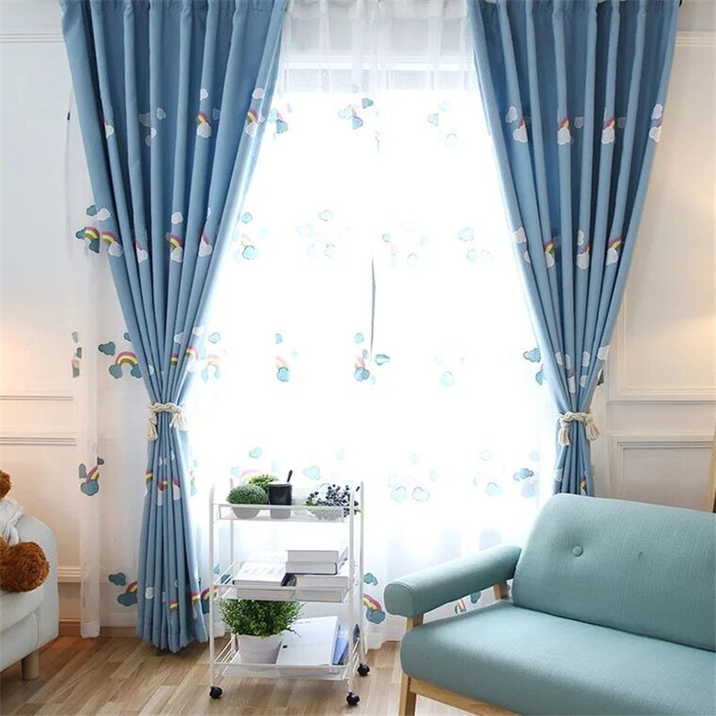 Awesome XYZLS Korean Style Cartoon Rainbow Curtains for Kids Room Blue Embroidered Blackout Curtains for Children Bedroom Window Drapes in Curtains from Home Top Design - Elegant blue bedroom curtains Review