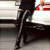 Black Sexy Peep Toe Stiletto Heel Thigh High Boots Women Open Toe Over The Knee Gladiator High Heel Boots