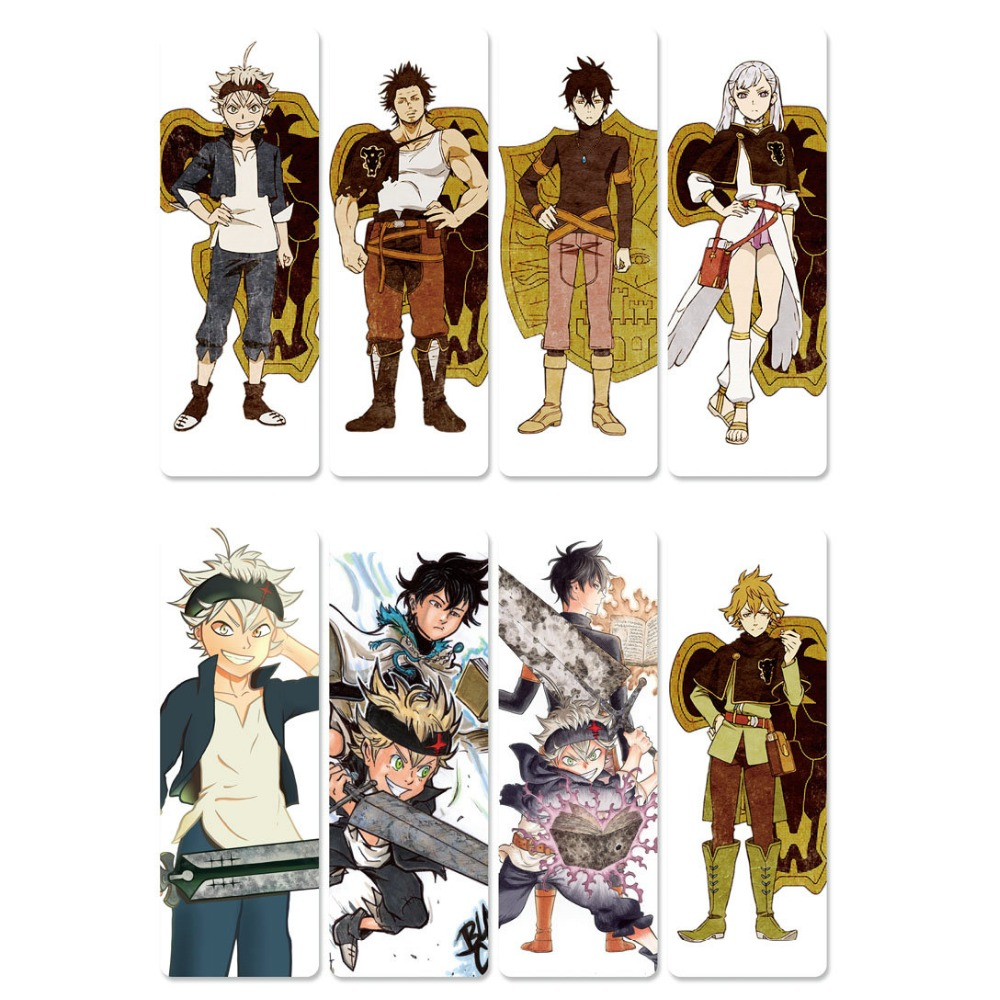8pcs Anime Black Clover Bookmarks Waterproof Transparent PVC Plastic Bookmark Beautiful Book Marks Gift