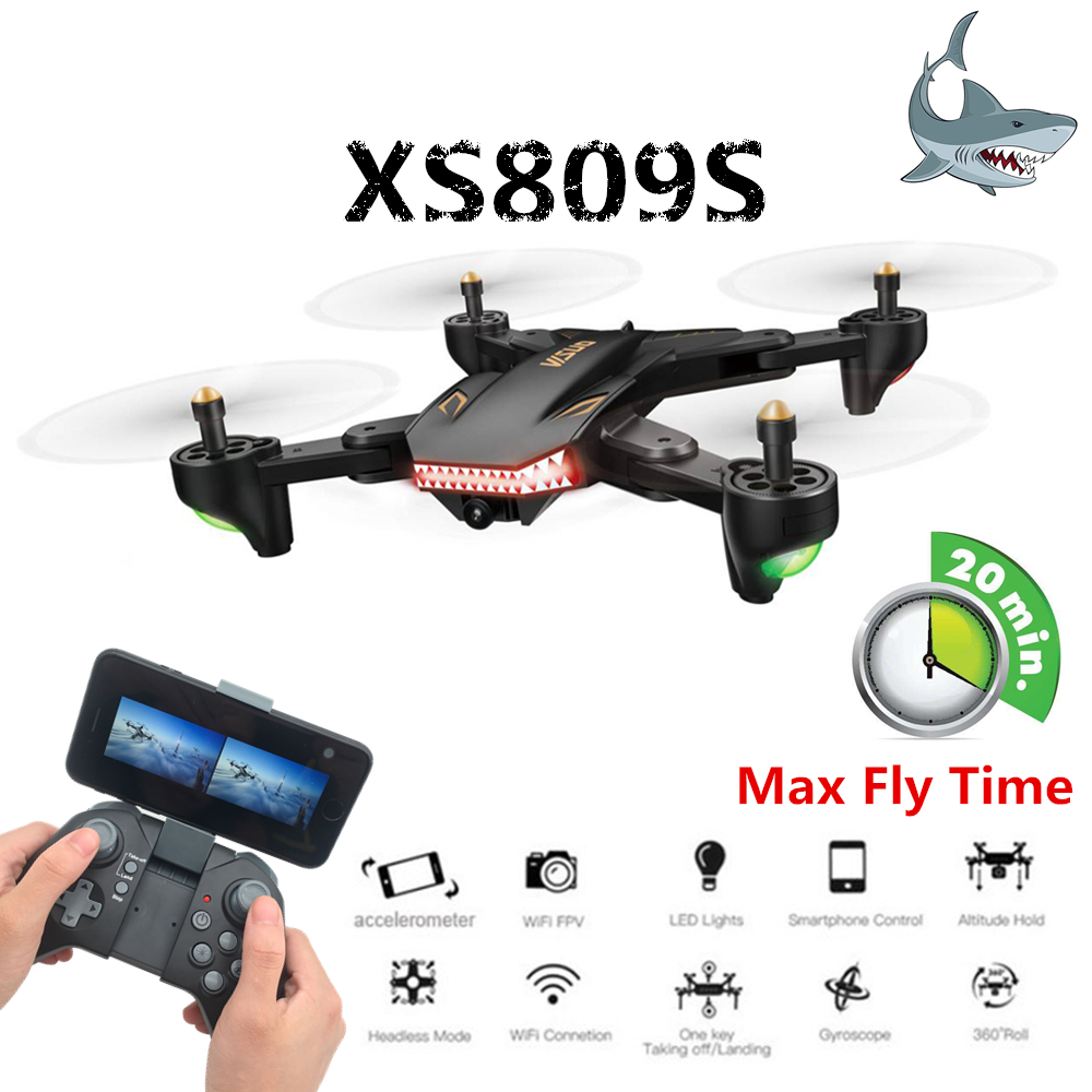 Super Long Flight Time VISUO XS809S Foldable Selfie Drone with 0.3MP/2MP Wifi FPV Camera Dron XS809HW Upgraded RC Helicopter