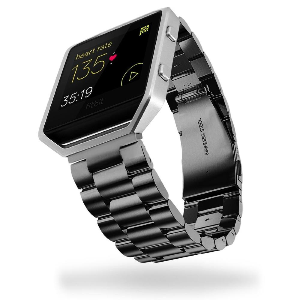Prix pour Haute Qualité En Acier Inoxydable Bracelet Trois Liens Classique Boucle En Métal Lien Bracelet pour Fitbit Blaze Smart Watch FBBZSS3LS
