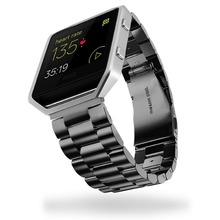 High Quality Stainless Steel Watchband Three Links Classic Buckle Metal Link Strap for Fitbit Blaze Smart Watch FBBZSS3LS