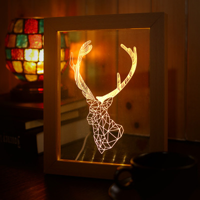 3D painting frames wood USB Nightlight creative three-dimensional LED light decoration lamp bedroom bedside lamp three dimensional 3d visual reading lights wood acrylic clear small lamp button type led stereo night light folding book lights