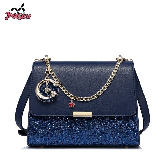 093daab304 JUST STAR Women s Leather Messenger Bags Ladies Chains Diamond Shoulder  Purse Female All-match Navy