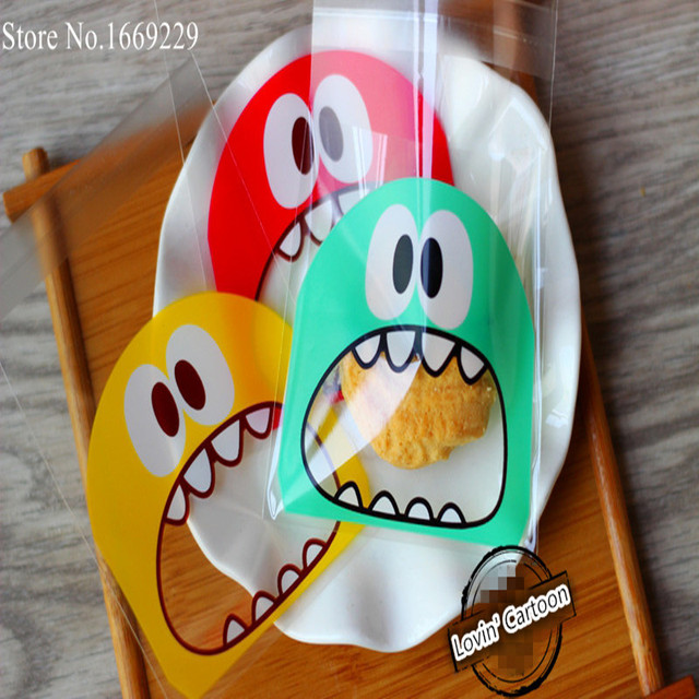 50pcs/lot small size cute little monster Candy cookie Bags Self-adhesive Plastic Biscuit Packaging Bag 10*10cm plus 3cm