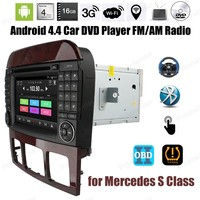 Quad Core Android4.4 Car DVD Support DTV DVR TPMS OBDII DAB + BT 3G WiFi GPS touch screen FM AM radio For Mercedes S Class