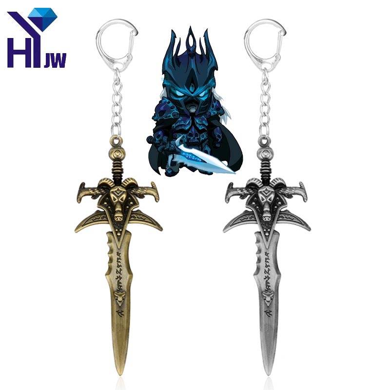 HEYu Hot Game World of War Craft WOW The Lich King Frostmourne Sword Weapon Dagger Metal Figures Toy with Keychain Key Ring