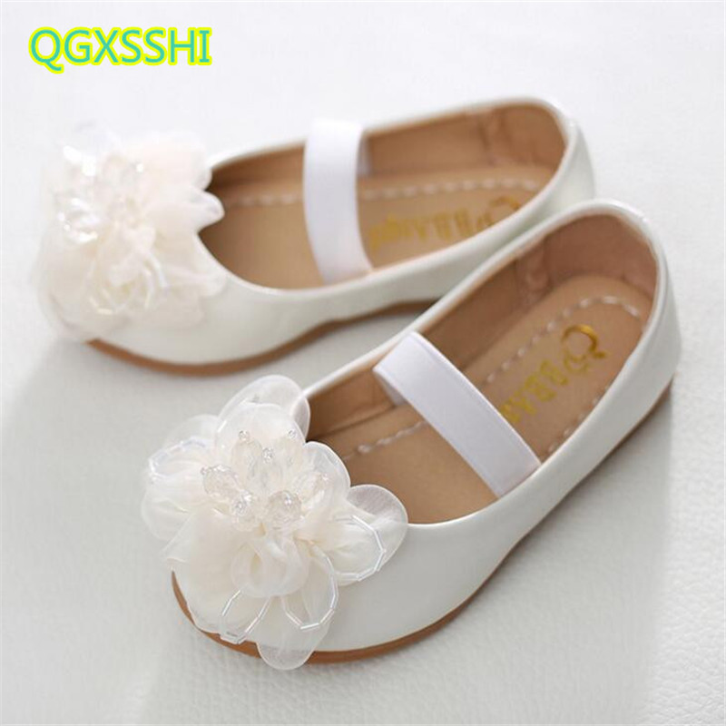 Spring And Autumn Girl Princess Single Shoes elastic band children flowers boat shoes kids soft bottom Student performance shoes