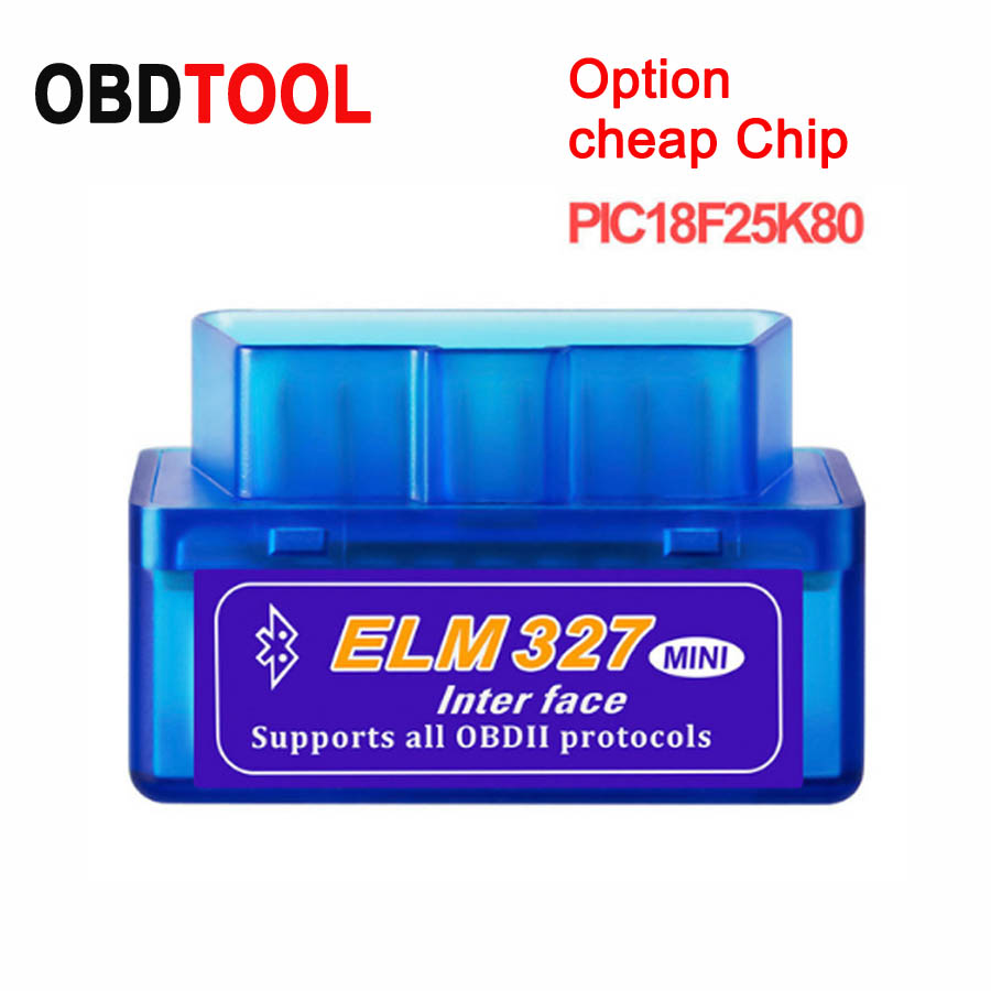 New 12 Languages PIC18F25K80 Chip V1.5 / Cheap Chip V2.1 ELM327 Bluetooth Option OBD2 ELM 327 For Android Torque Adapter