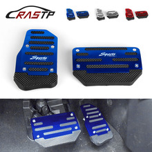 RASTP-2pcs/set Universal Non-Slip Aluminum Rubber Automatic Transmission Car Pedal Cover Set Kit  RS-ENL017