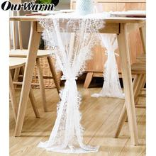 OurWarm 70X300cm White Lace Wedding Table Runner Boho Theme Tablecloth Modern Runners Party Decoration