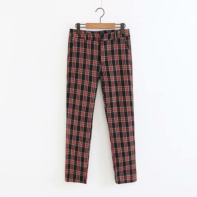 2018 Women Red Plaid Pants British Style Retro Vintage Checker Pattern Trousers 9