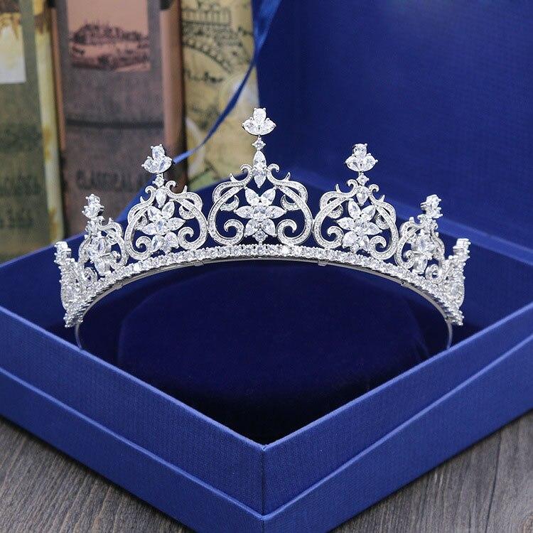SLBRIDAL Stunning Wedding Cubic Zircon Tiara Bridal CZ Crown Queen Princess Pageant Party Headpiece Bridesmaids Hair Accessories headpiece