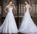 2016 Fashionable Designer Bride Dress Vestido De Noiva Wedding Dress romantic Designer Short Sleeves Wedding Dress 0577
