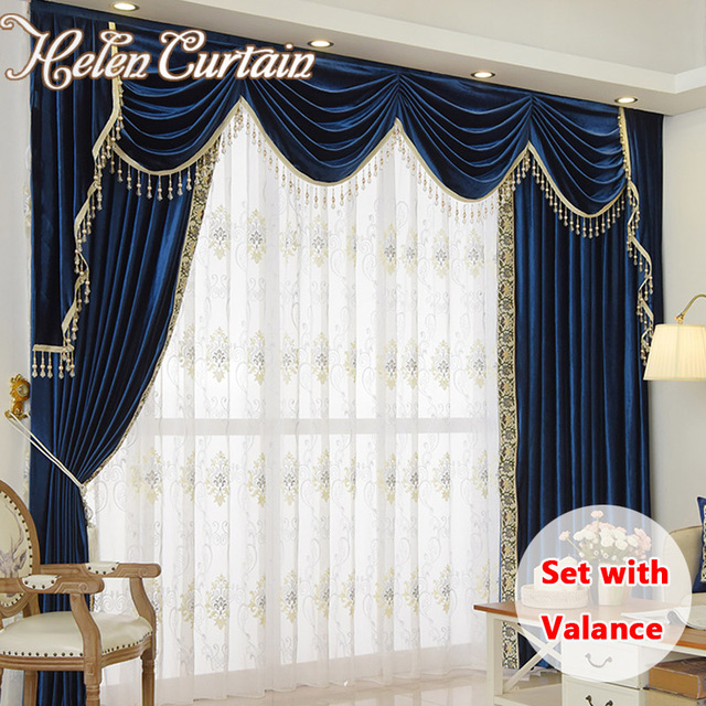 Helen Curtain Set Luxury Velvet Royalblue Curtains For Living Room European Valance Bedroom Beads