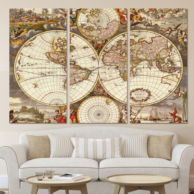 Modern home decor wall art frame posters hd printed canvas 3 pieces modern home decor wall art frame posters hd printed canvas 3 pieces vintage world map painting gumiabroncs Image collections