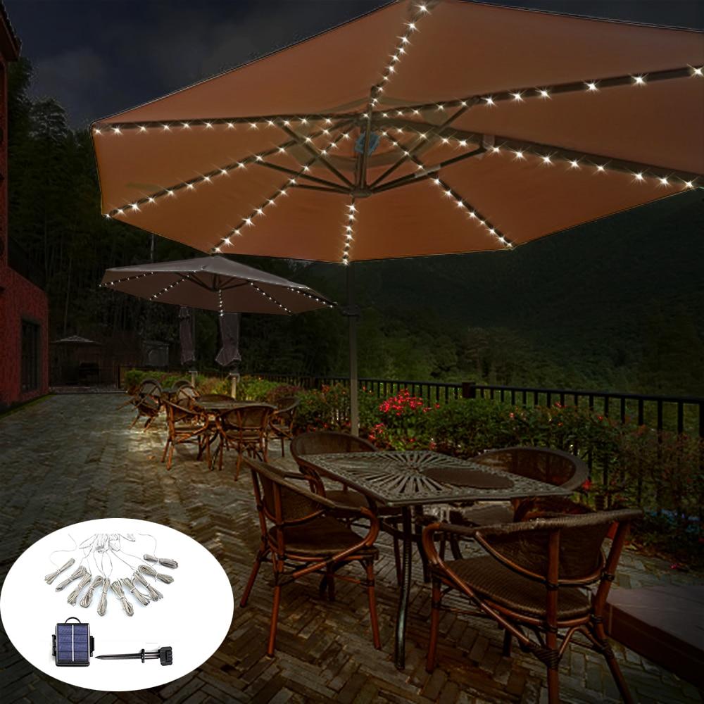 104 LED Solar Powered Patio Umbrella LED String Light Camping Tent Light Outdoor Coffee Shop Garden Wedding Decoration Light