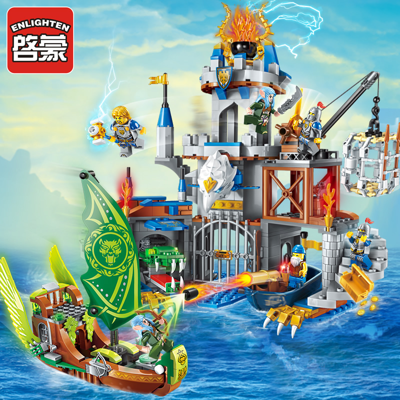 Enlighten Building Block War of Glory Elves Castle Knights The Sliver Hawk Castle 6 Figures 656pcs Educational Bricks Toy-No Box war hawk
