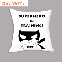 Superhero Batman Black White Quote Cartoon Cushion Nordic Decorative Kids Decoration Throw Pillow For Office Car