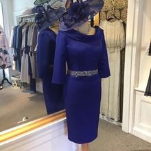 vestido de madrinha 2019 Royal Blue Mother Of The Bride Dresses Beaded Crystal Belt Weddings Evening Gowns Prom