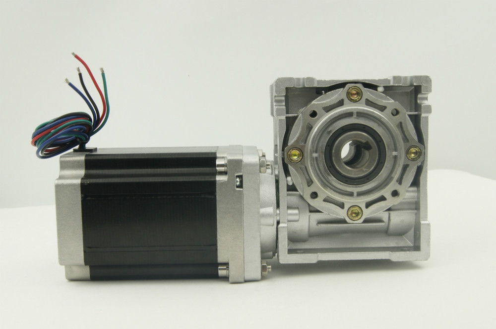 4-lead NEMA 34 Worm geared Stepper Motor with 8.5N.m(1215oz-in) Motor Length 118mm Worm Gear Ratio 1:5 with output shaft 4 lead nema 34 worm geared stepper motor with brake and output shaft 8 5n m 1215oz in motor length 118mm worm gear ratio 1 5