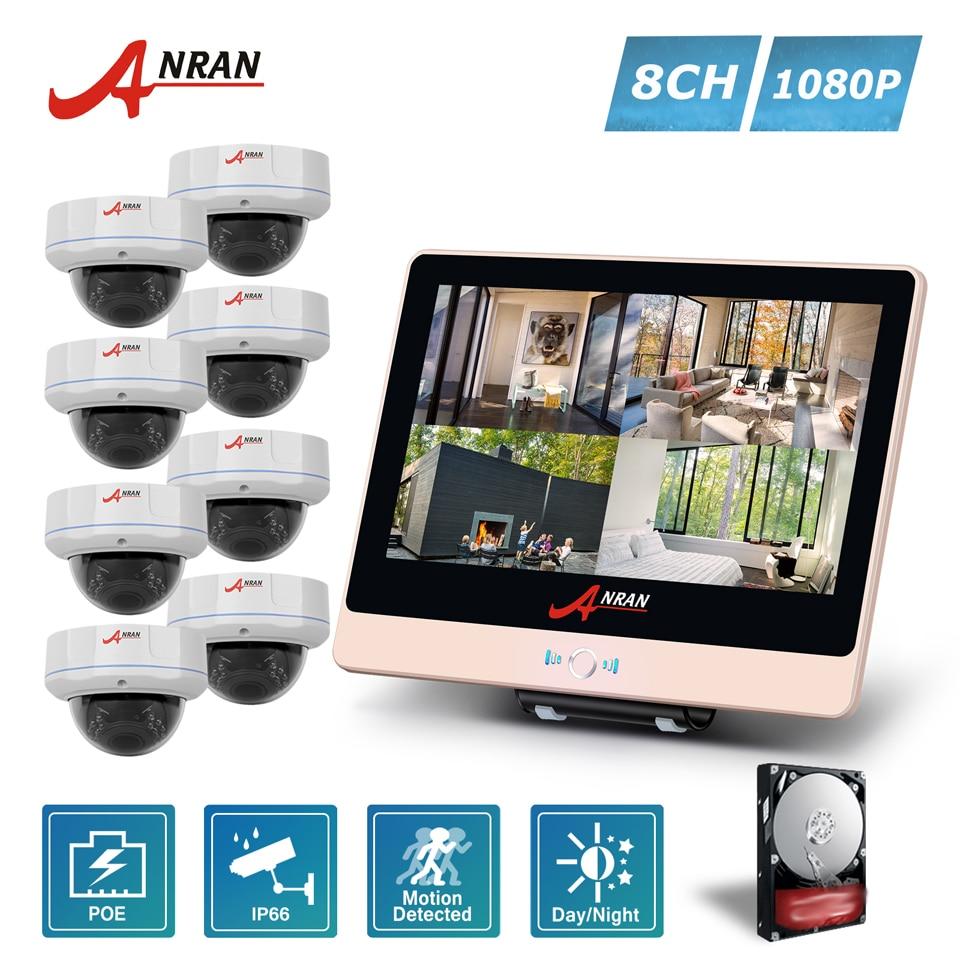 ANRAN Plug Play P2P 4CH 1080P 12 LCD POE NVR Security CCTV System 30 IR Vandal